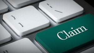 "Keyboard image with ""CLAIM"" highlighted key 